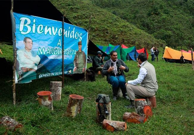 Kolja Spori with former FARC rebel leader Rubin Morro in Marquetalia Colombia